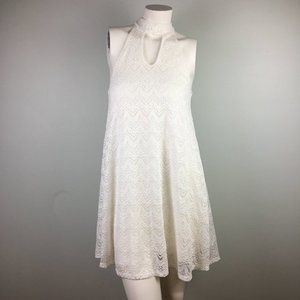 Ginger G. White Lace Keyhole Sleeveless Mini Dress